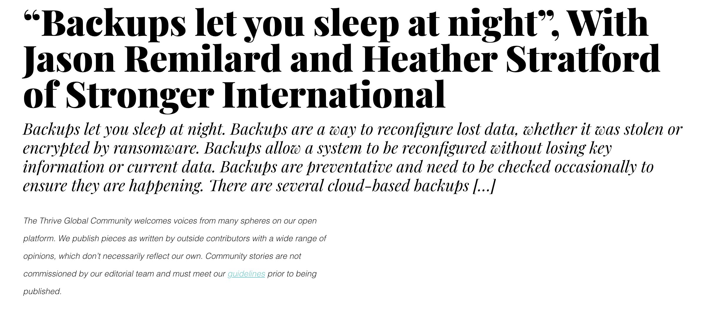 Back Ups Let You Sleep At Night, Heather Stratford